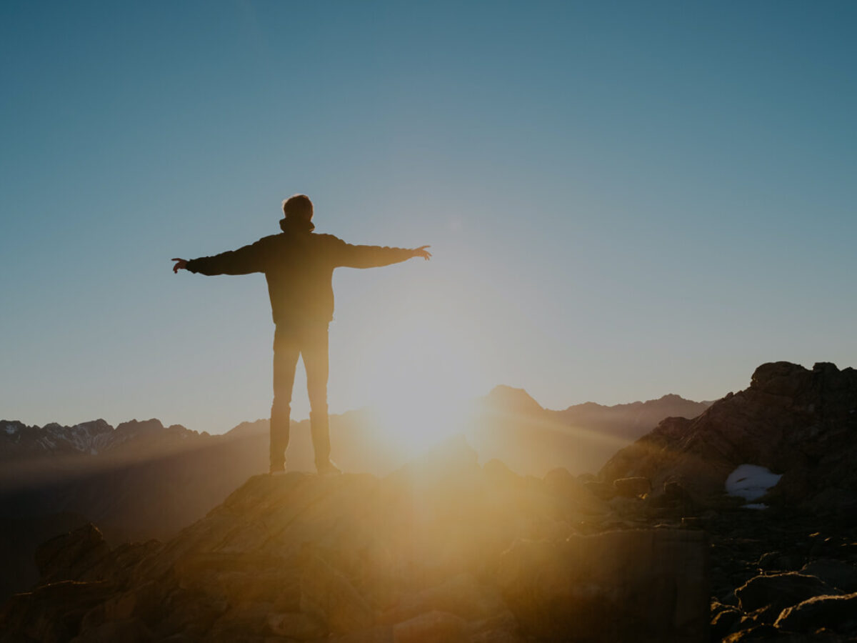 Person Standing On The Hill Mountain Sunset Hope Optimism Man
